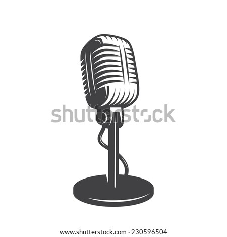 Vector illustration of isolated retro, vintage microphone. - stock vector
