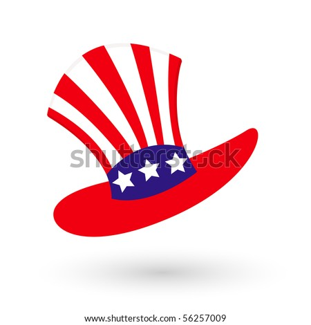 Vector illustration of isolated usa hats on white background.