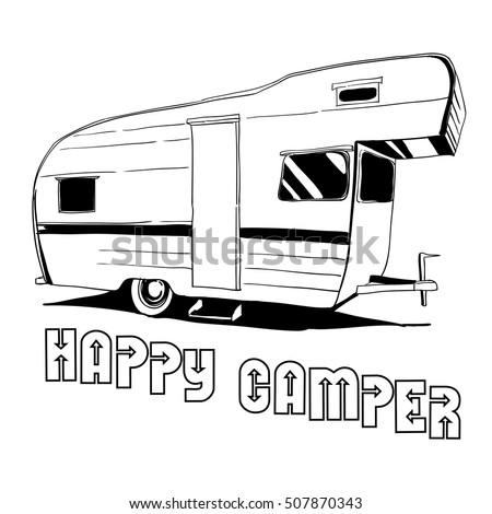 Vector Illustration Of Isolated Vintage Hand Drawn Doodle Camper Car Recreation Transport Vehicles