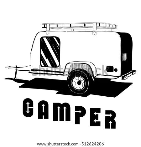 Vector Illustration Of Isolated Vintage Hand Drawn Doodle Camper Trailer Car Recreation Transport