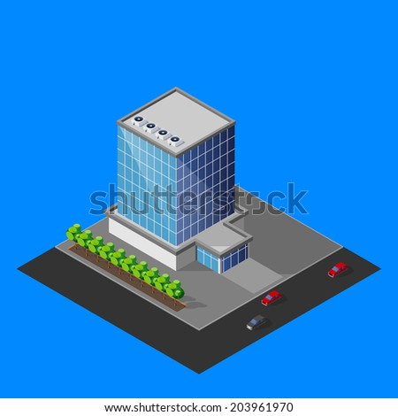 vector illustration of isometric business center building - stock vector