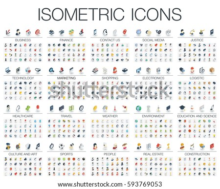 Vector illustration of isometric flat icons for business, bank, social media market, justice, internet technology, shop, education, sport, healthcare, art and construction. Color 3d web symbols set.