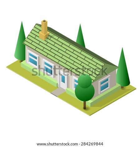 Vector illustration of isometric living building. Placed on separated island. Easy to edit, clear and simple. - stock vector