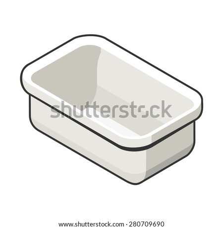 Vector illustration of isometric view of a bath. Contrast grey outline. Can be used as icon for games and mobile apps, or advertisement of plumbing store.