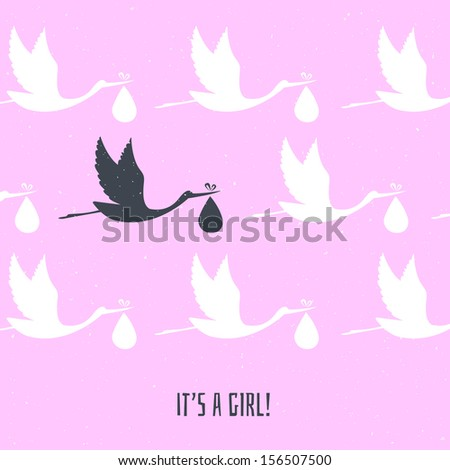Vector illustration of It's a girl! - stock vector