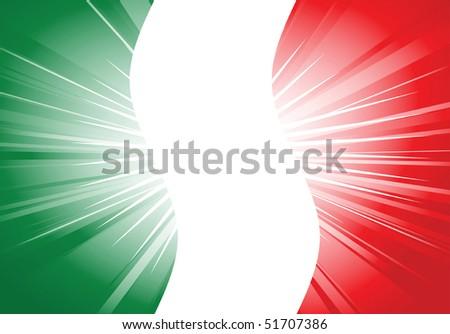 vector illustration of italian flag with flash light - stock vector