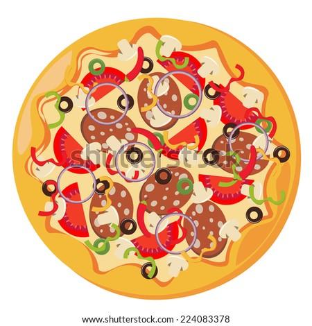 vector illustration of italian pizza - stock vector