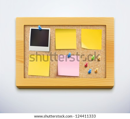 Vector illustration of items pinned to a cork bulletin board with wood frame, ready for your customized text or images.