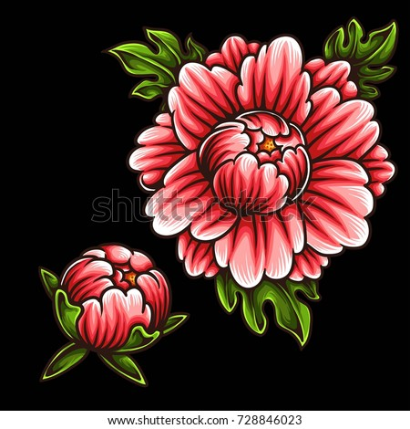 Vector Illustration Japanese Flower Tattoo Style Stock Photo (Photo ...