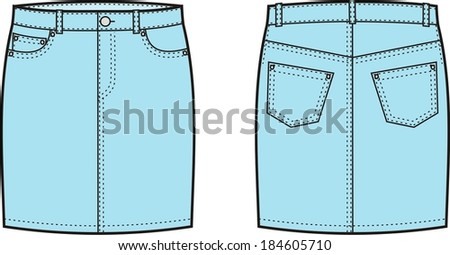Vector illustration of jeans skirt. Front and back views - stock vector