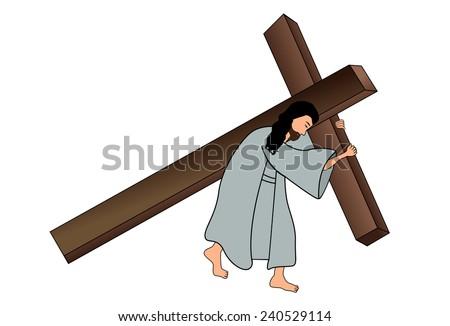 Vector illustration of Jesus Christ carrying cross  - stock vector