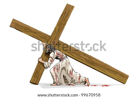 vector illustration of jesus christ carrying cross - stock vector