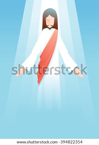 Vector illustration of Jesus Christ is risen in blue background - stock vector