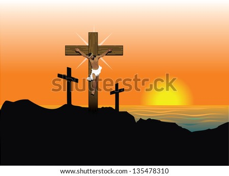 Vector Illustration of Jesus Christ on cross. Easter Resurrection.