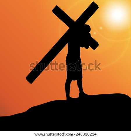 silhouette jesus carry his cross on stock photo 527435329