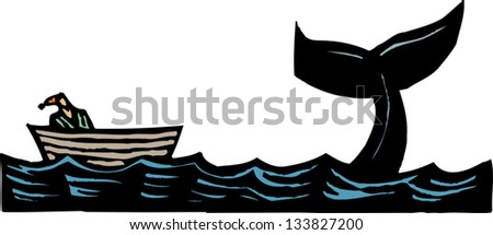 Vector illustration of Jonah and the whale - stock vector