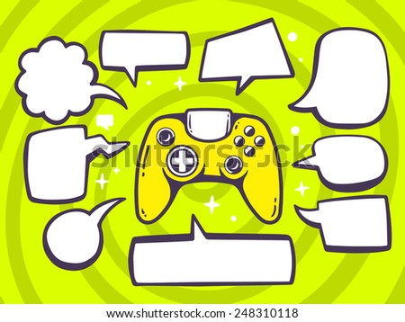 Vector illustration of joystick with speech comics bubbles on green pattern background. Line art design for web, site, advertising, banner, poster, board and print. - stock vector