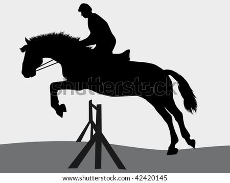 vector illustration of jumping horse - stock vector