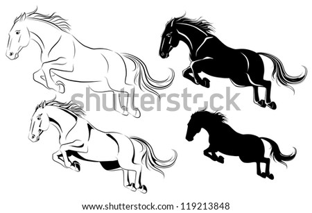 Vector illustration of jumping horse black and white - stock vector