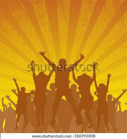 Vector illustration of jumping people - stock vector