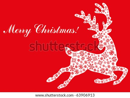 Vector illustration of jumping reindeer with text Merry Christmas - stock vector