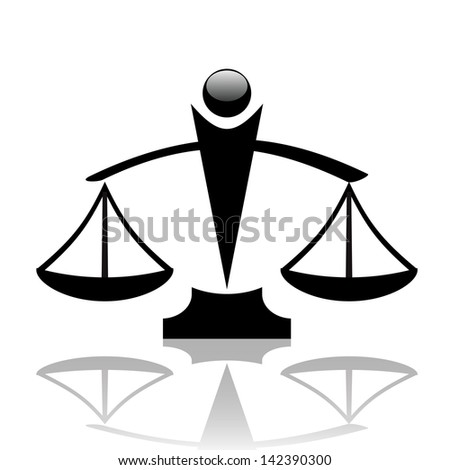 Vector  illustration of justice scales icon - stock vector