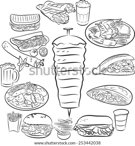Vector illustration of kebab collection in line art mode - stock vector
