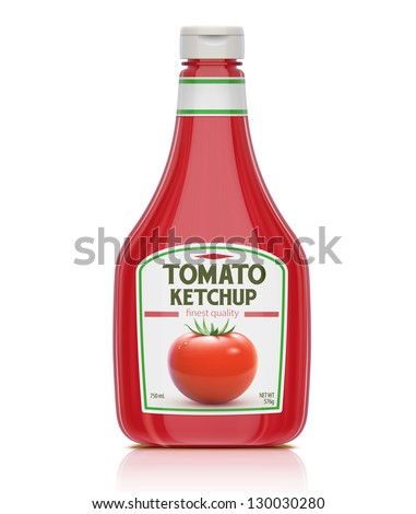 Vector illustration of ketchup bottle isolated on white background - stock vector