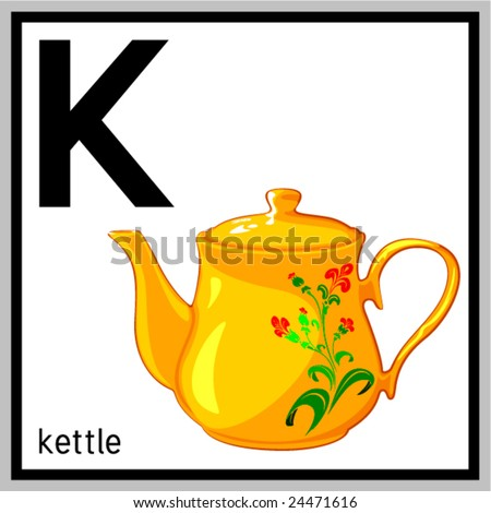 "Vector illustration of kettle and english letter ""K"". Does not contain any effects like gradients, blends and so on. File format EPS (AI8 compatible)."