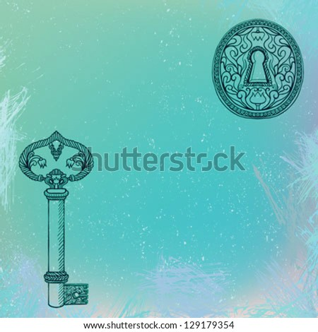 vector illustration of key and keyhole on turquoise watercolor splashes. Concept illustration of safety, security, home, secret, mystery. - stock vector