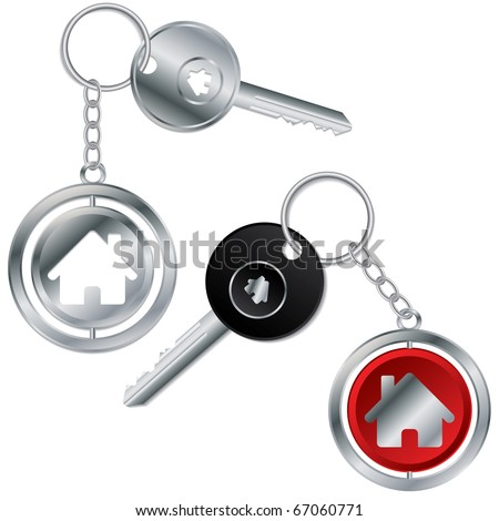 Vector illustration of keys with house keyholders - stock vector