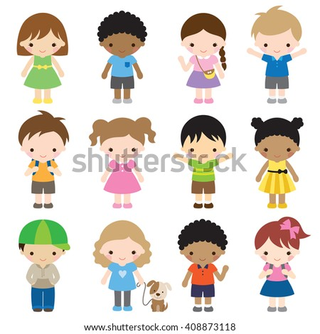 Vector illustration of kid characters in different clothes and poses. - stock vector