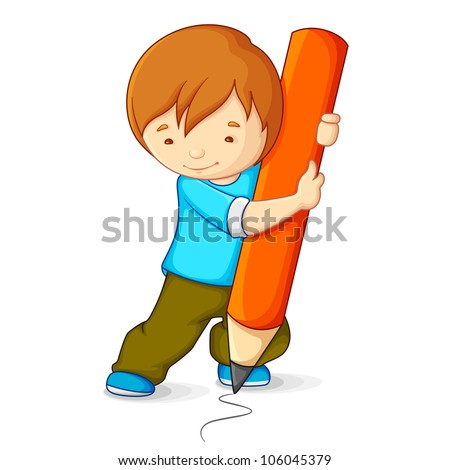 vector illustration of kid drawing with pencil