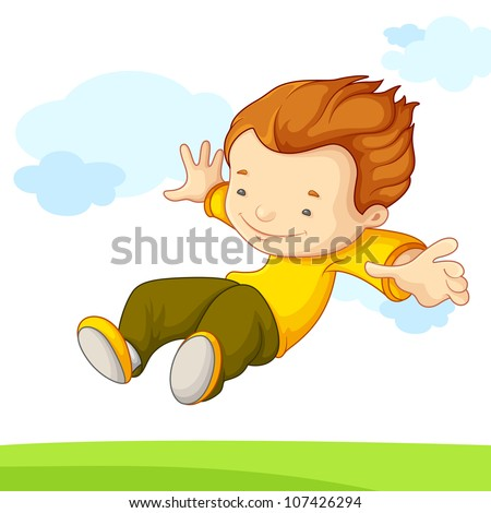 vector illustration of kid jumping in playground - stock vector