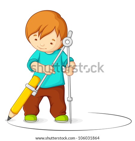 vector illustration of kid making circle with compass - stock vector