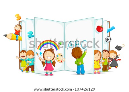 vector illustration of kid playing and reading with open book