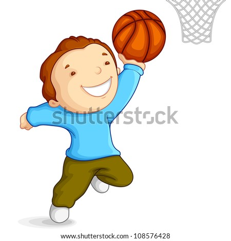 vector illustration of kid playing basketball - stock vector