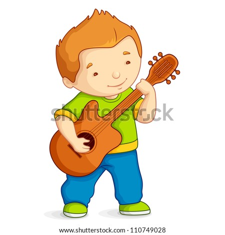 vector illustration of kid playing guitar against white background - stock vector