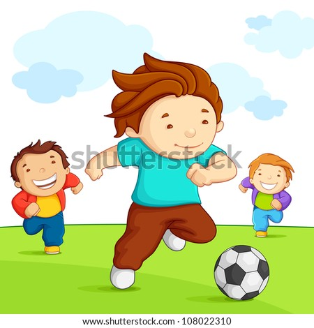 vector illustration of kid playing soccer in playground
