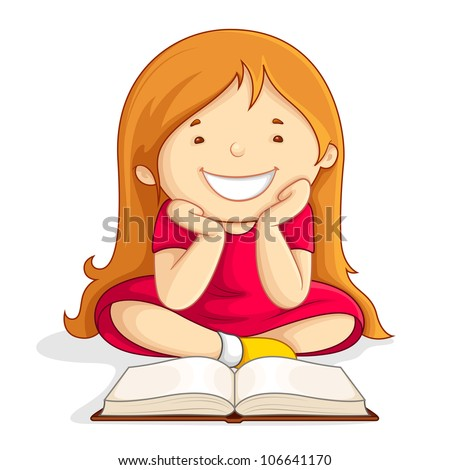 vector illustration of kid reading open book sitting on floor - stock vector