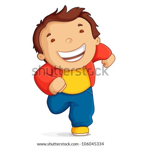 vector illustration of kid running against white background - stock vector
