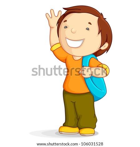 vector illustration of kid with school bag in bye bye gesture - stock vector