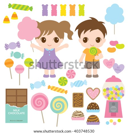 Vector illustration of kids and variety of sweet candies such as lollipops, chocolates, hard candies, gummy bears, cookies, cotton candy. - stock vector