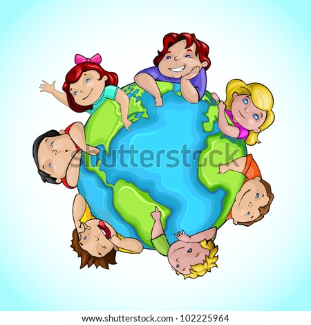vector illustration of kids around globe showing friendship - stock vector