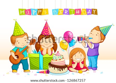 vector illustration of kids celebrating Birthday with gift and cake