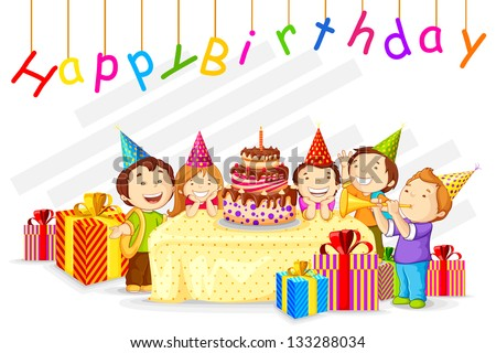 vector illustration of kids celebrating Birthday with gift and cake - stock vector