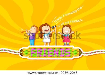 vector illustration of kids celebrating Friendship Day - stock vector
