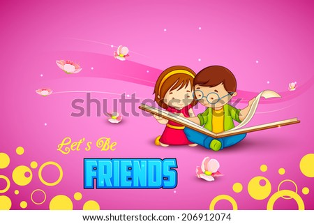 vector illustration of kids celebrating Friendship Day - stock vector