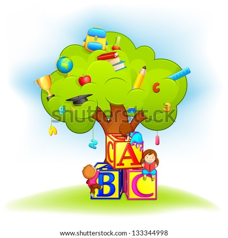 vector illustration of kids climbing wisdom tree with education object - stock vector