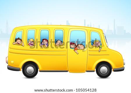 vector illustration of kids enjoying school bus ride - stock vector